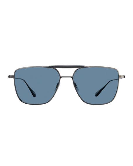 Garrett Leight Men's Convoy 56 Square Aviator Sunglasses
