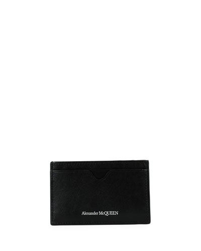 Men's Leather Card Case with Embossed Logo