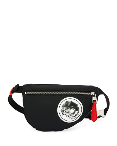 Men's Mini Skull-Print Belt Bag/Fanny Pack