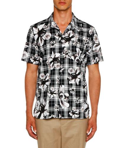 Men's Tartan Flowers Graphic Shirt