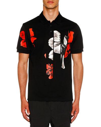 Men's Floral Graphic Polo Shirt