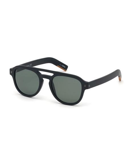 Ermenegildo Zegna Men's Rectangular Acetate Pilot Sunglasses -