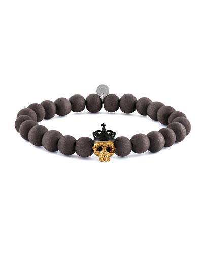Tateossian Men S Natural Bead Skull Bracelet Size M
