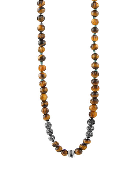 Tateossian Men's The Formentera Tiger Eye Necklace