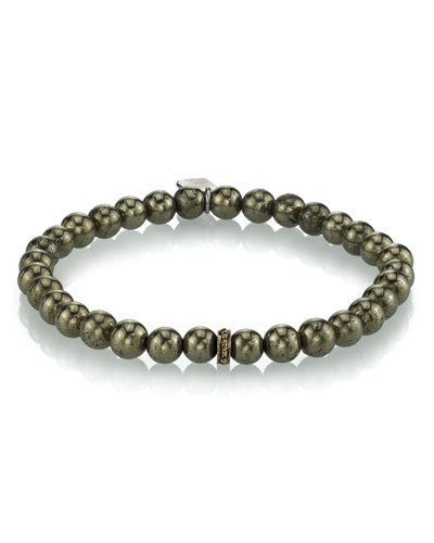 Men's Pyrite Beaded Bracelet, 6mm