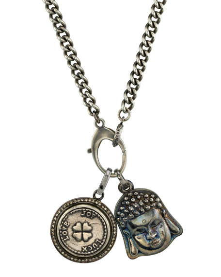 Mr. Lowe Men's Buddha & Clover Pendant Necklace
