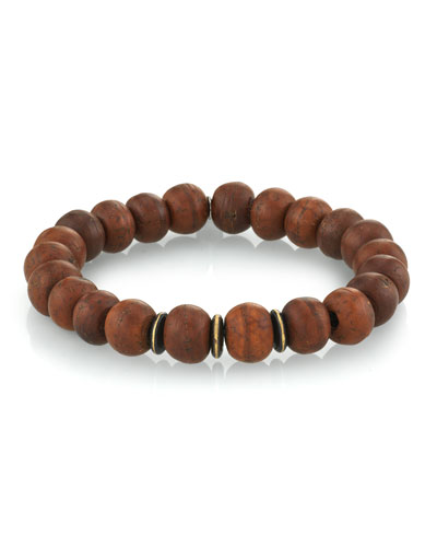 Men's Wood Bead Bracelet w/ Spacers, Size M