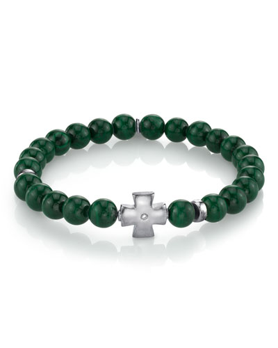 Men's Malachite & Maltese Cross Bracelet, Size M