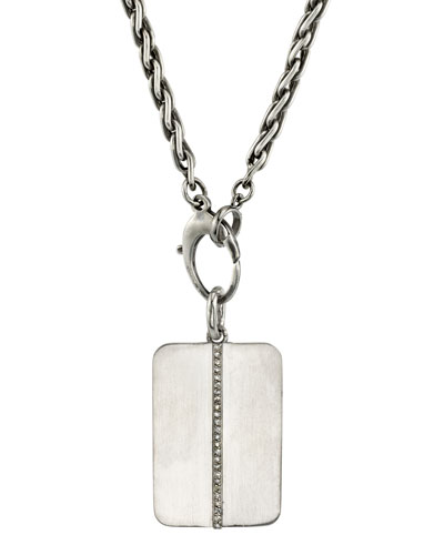 Men's Linear Diamond Dog Tag Necklace