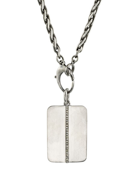 Mr. Lowe Men's Linear Diamond Dog Tag Necklace