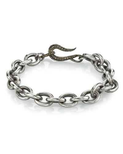 Men's Chain Bracelet w/ Diamond Clasp  Size M
