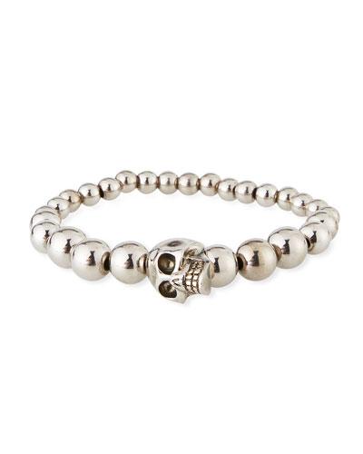 Men's Skull & Bead Bracelet  Silver