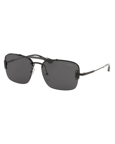 Men's Double-Bridge Square Sunglasses