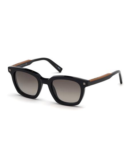 Ermenegildo Zegna Men's Shiny Vicuna Square Sunglasses