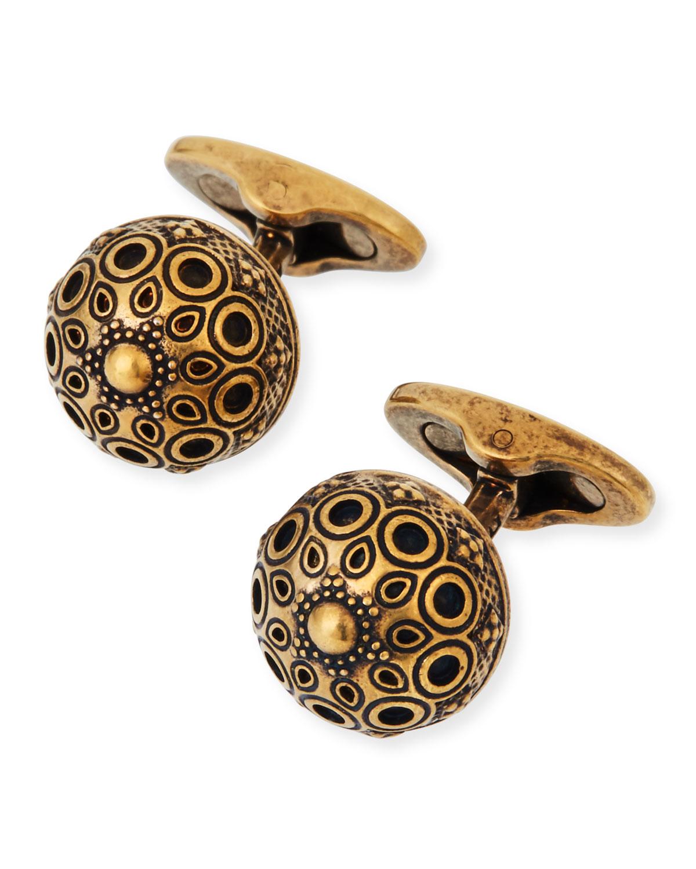 Etro Men's Round Brass Cufflinks
