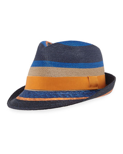 Men's Striped Straw Fedora Hat