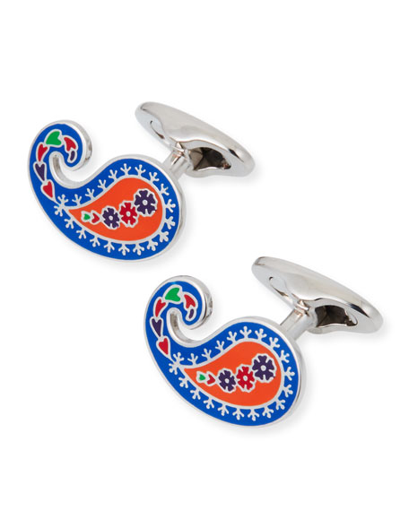 Men's Enameled Paisley Cuff Links