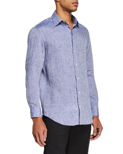 Men's Linen Sport Shirt, Medium Blue