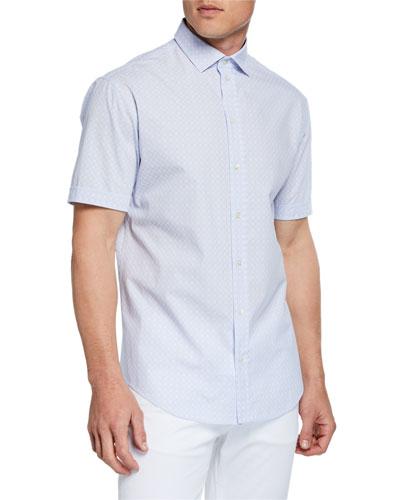 Men's Short-Sleeve Box-Print Shirt