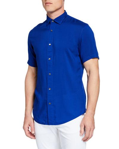 Men's Short-Sleeve Woven Viscose Shirt