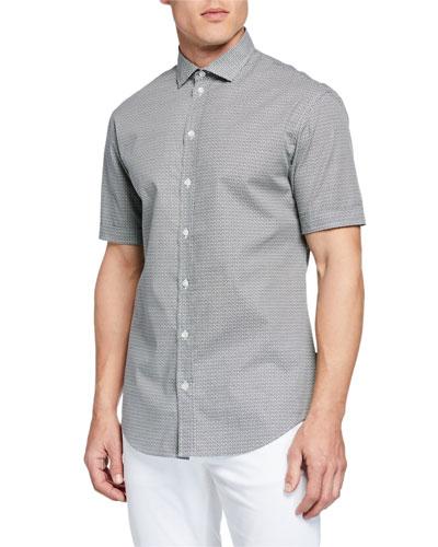 Men's Neat-Print Short-Sleeve Sport Shirt