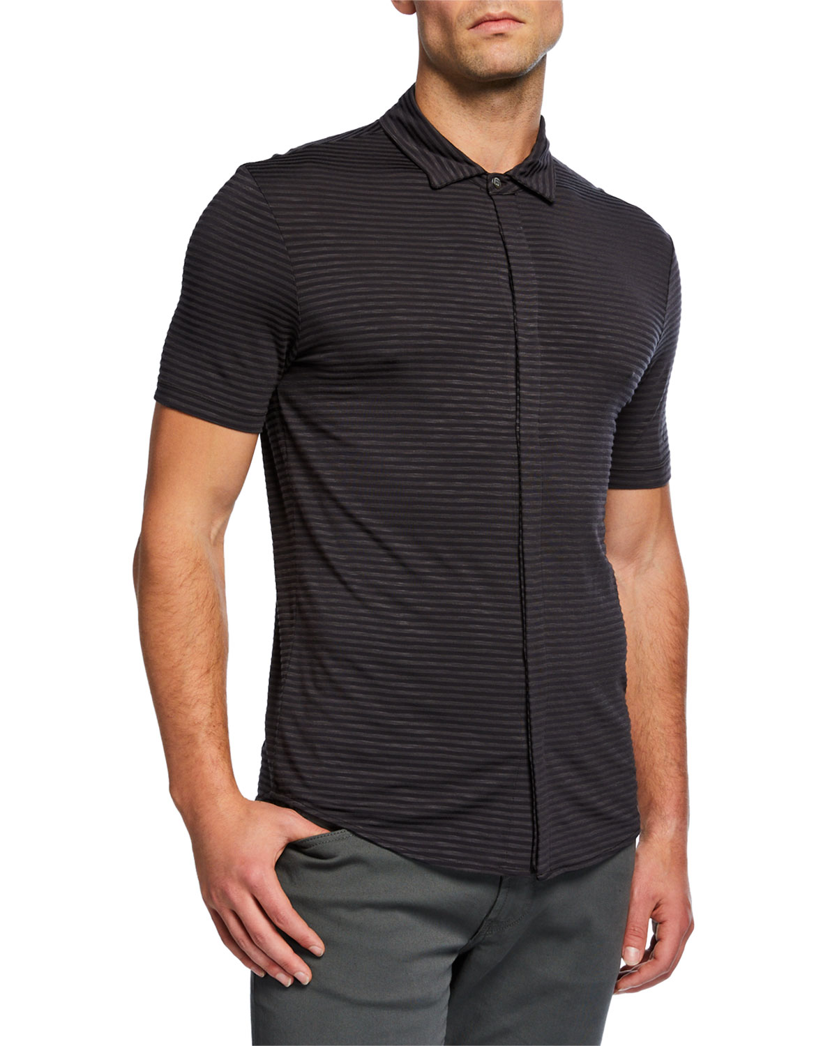 db99f1c00931 Emporio Armani Men s Striped Button-Down Polo Shirt