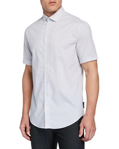 Men's Short-Sleeve Micro-Diamond Shirt