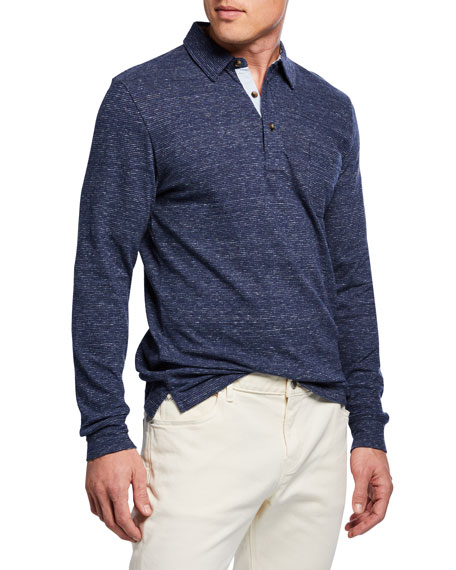 Faherty Men's Luxe Heathered Long-Sleeve Polo Shirt