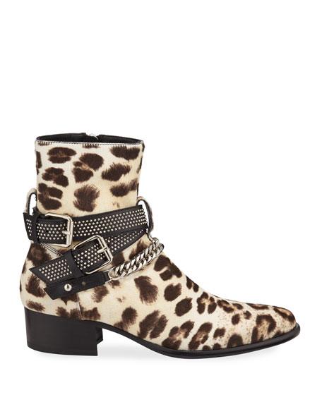 1700f32ac085 Amiri Men's Leopard-Print Calf Hair Chain Moto Boots | Neiman Marcus