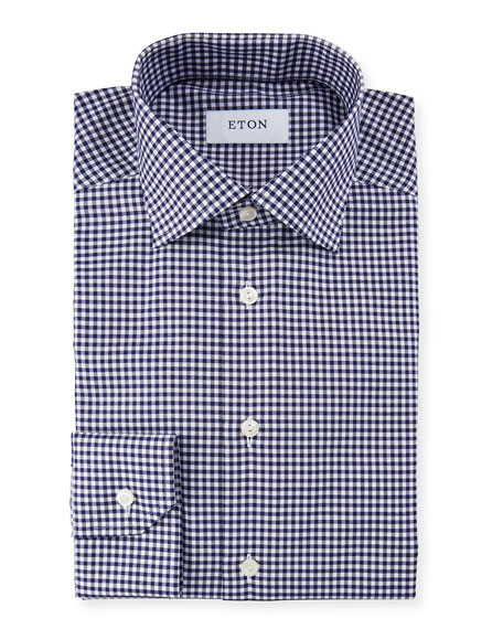 Eton Men's Slim Fit Gingham Check Dress Shirt