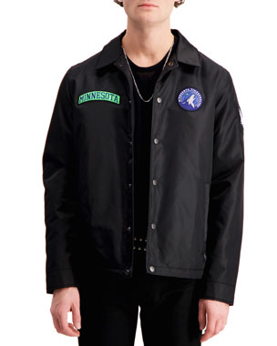 cd7e7c536ec8 The Very Warm Men s Minnesota Timberwolves Patched Coach s Jacket