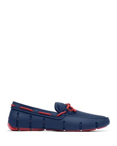 Mesh & Rubber Braided-Lace Boat Shoes  Navy/Red Alert