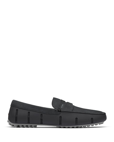Men's Luxe Nubuck Penny Driver Loafers  Black/Gray