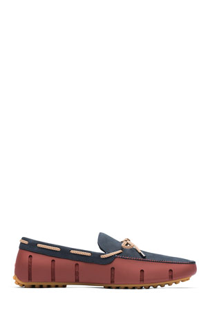 Swims Men's Braided Lace Luxe Loafer Drivers, Red/Navy/Gum