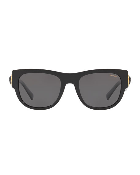 Versace Men's Square Acetate Wrap Sunglasses