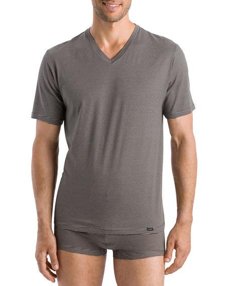 Hanro T-shirts MEN'S SPORTY STRIPE V-NECK T-SHIRT