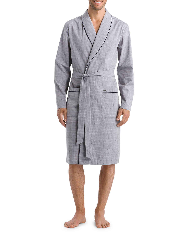 Hanro Men's Theo Gray Woven Robe