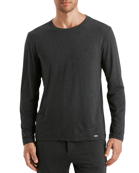 Hanro T-shirts MEN'S CASUAL LONG-SLEEVE CREW T-SHIRT