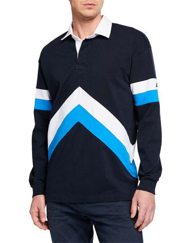 Men's Sporty Long-Sleeve Polo Shirt