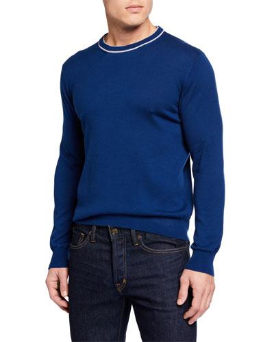 Men's Contrast Crewneck Sweater