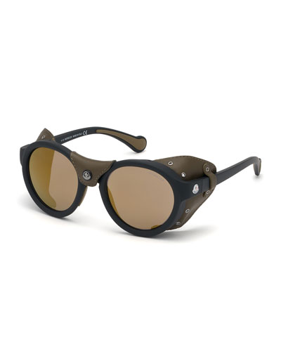 Men's Mirrored Sunglasses w/ Leather Side Blinders