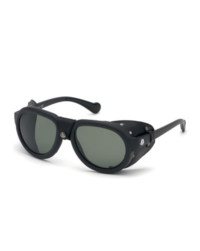 Men's Round Sunglasses w/ Leather Side Blinders