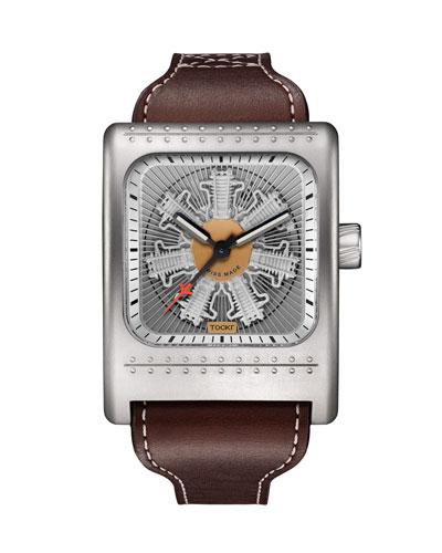 Men's Radial C-47W Leather Watch  Silver