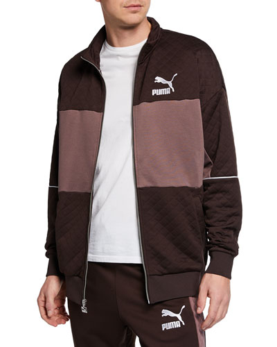 Men's Retro Quilted Panel Track Jacket