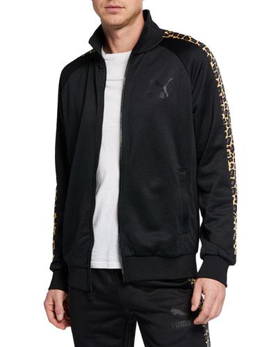Men's Wild Pack Leopard-Sleeve Zip-Front Track Jacket