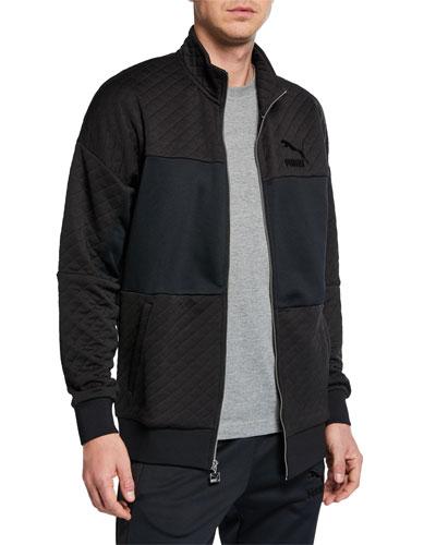 Men's Retro Quilted Zip-Front Track Jacket