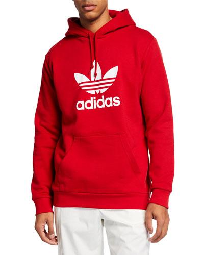 Men's Trefoil Pullover Hoodie  Red