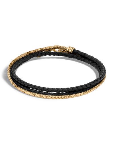 Men's Classic Chain 18K Gold & Leather Wrap Bracelet