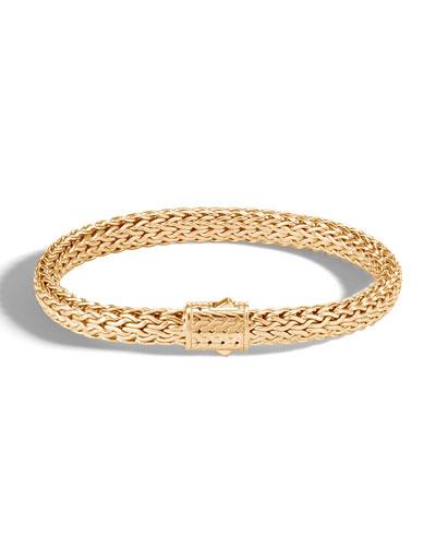 Men's Classic Chain Medium 18k Gold Bracelet  Size L