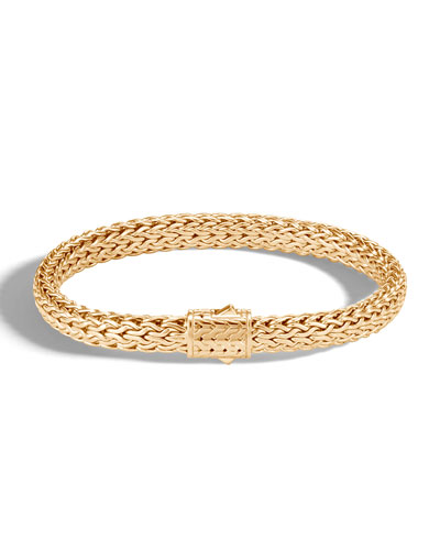 Men's Classic Chain Medium 18k Gold Bracelet  Size S